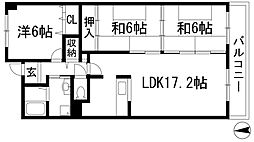兵庫県川西市東畦野3丁目の賃貸マンションの間取り