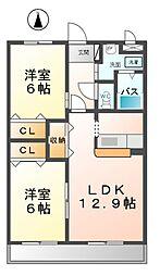 愛知県北名古屋市久地野安田の賃貸アパートの間取り