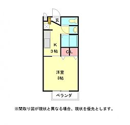 愛知県岩倉市曽野町大畔の賃貸アパートの間取り