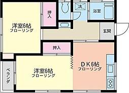 神奈川県横浜市保土ケ谷区西久保町の賃貸アパートの間取り