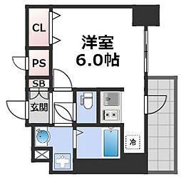 スプランディッド難波元町DUE 9階1Kの間取り