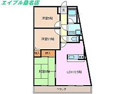 三重県桑名市大字播磨の賃貸マンションの間取り