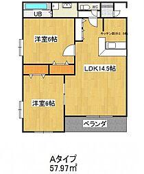 愛知県安城市横山町下管池の賃貸マンションの間取り