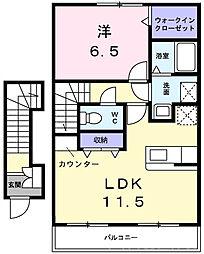 神戸市西神・山手線 伊川谷駅 徒歩37分の賃貸アパート 2階1LDKの間取り