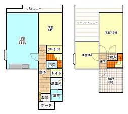ロイヤルタウン西成瀬5号棟[201号室]の間取り