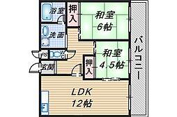 カーサ刀根山[306号室]の間取り