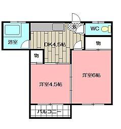 中央アパート[202号室]の間取り