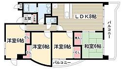 愛知県名古屋市名東区大針3丁目の賃貸マンションの間取り