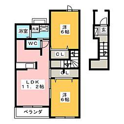 ヴィラシャングリ・ラA[2階]の間取り