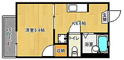 京都府京都市伏見区下油掛町の賃貸アパートの間取り