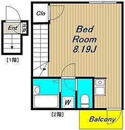 仮称)浜田山新築計画 2階ワンルームの間取り