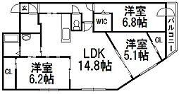 北海道札幌市中央区南十五条西9丁目の賃貸マンションの間取り
