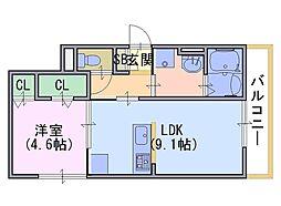 ネオクリエイト勝竜寺 1階1LDKの間取り