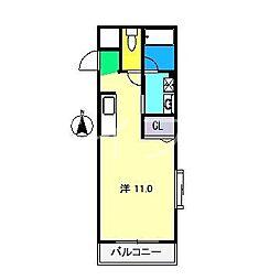 パークサイド宝永[3階]の間取り