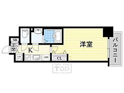 Luxe都島3 6階1Kの間取り