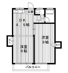 東京都中野区松が丘の賃貸マンションの間取り