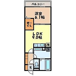 メゾン・ラ・パトリア K 2階1LDKの間取り