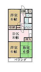 グランディールYOKOYAMAII[306号室]の間取り