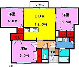 シャーメゾン稲田本町(C棟)[1階]の間取り