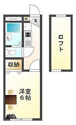 大阪府八尾市美園町4丁目の賃貸アパートの間取り