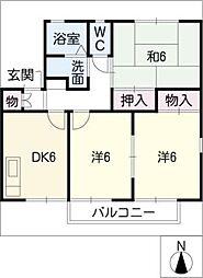 レイクサイドパレスA棟[1階]の間取り