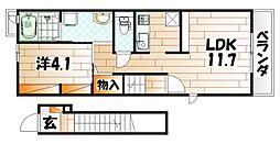 プランドール京町Ⅱ[2階]の間取り