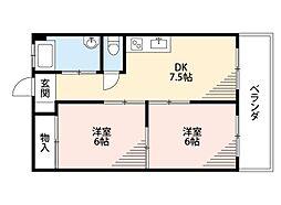 福岡県北九州市小倉北区緑ケ丘2丁目の賃貸マンションの間取り