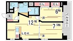 兵庫県神戸市中央区野崎通3丁目の賃貸マンションの間取り