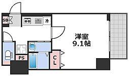 エグゼ西天満 4階1Kの間取り