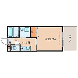 近鉄奈良線 大和西大寺駅 徒歩4分の賃貸アパート 1階1Kの間取り