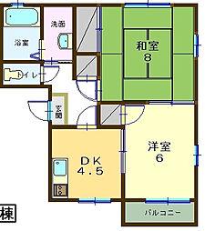 クレール飯田[A202号室]の間取り