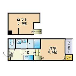 フェリオ福岡井尻 2階1Kの間取り