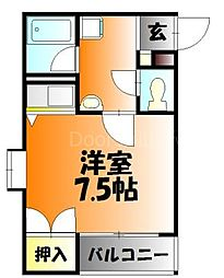 JR山陽本線 岡山駅 徒歩28分の賃貸マンション 4階1Kの間取り