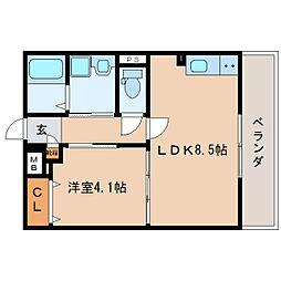 JR東海道本線 静岡駅 徒歩15分の賃貸マンション 4階1LDKの間取り