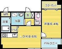 福岡県北九州市小倉北区京町3丁目の賃貸マンションの間取り
