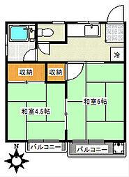阪本荘[201号室]の間取り