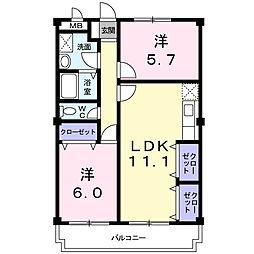 エトワ−ル北矢三[2階]の間取り