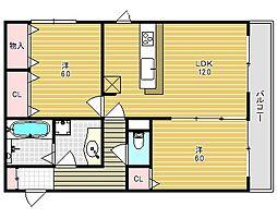 仮称)春日町新築アパート[202号室]の間取り