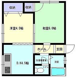 秋田県大仙市大曲白金町の賃貸アパートの間取り