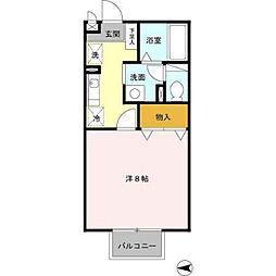 兵庫県西脇市野村町字大門の賃貸アパートの間取り