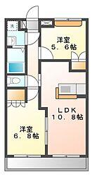 静岡県静岡市葵区新伝馬1丁目の賃貸アパートの間取り