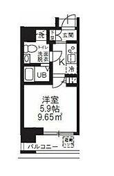 ハーモニーレジデンス新横浜 11階1Kの間取り