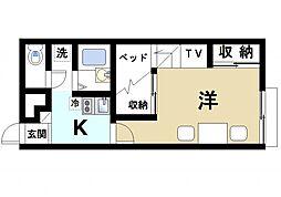 近鉄天理線 前栽駅 徒歩21分の賃貸アパート 1階1Kの間取り