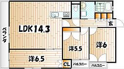 コスモス小倉駅前[7階]の間取り