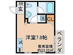 京都府京都市伏見区横大路貴船の賃貸アパートの間取り