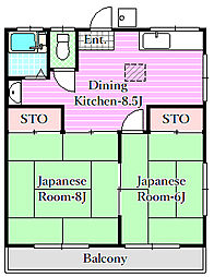 サンハイツ竹沢[2階]の間取り