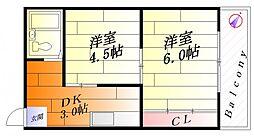 青葉丘コーポ[3階]の間取り
