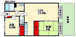 福岡県福岡市南区弥永2丁目の賃貸マンションの間取り