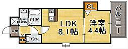 福岡県福岡市中央区長浜1丁目の賃貸マンションの間取り