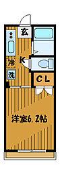 東京都国分寺市本多4丁目の賃貸アパートの間取り